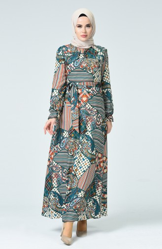 Gemustertes Kleid mit Band 60084-01 Petroleum 60084-01
