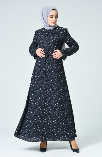 Çiçek Desenli Elbise 60085-01 Lacivert