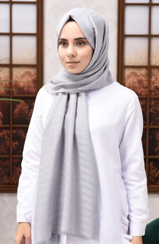 Self Patterned Seasonal Shawl Light Gray 13155-22