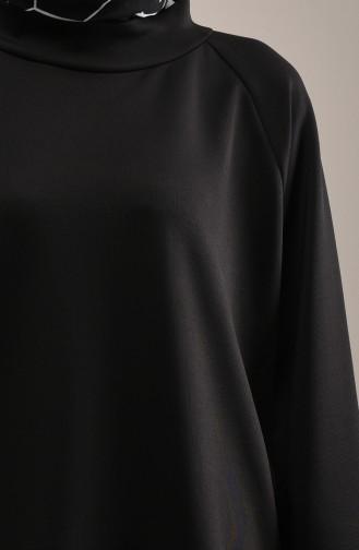 Dalgıç Kumaş Tunik Pantolon İkili Takım 1033-03 Siyah