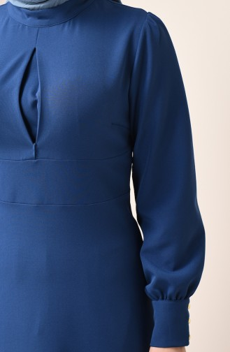 Robe à Col Montant 2703-08 İndigo 2703-08
