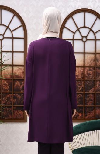 Bat Sleeve Sequined Tunic Purple 8108-04