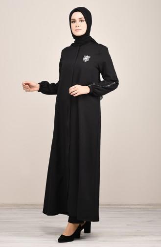 Gestreiftes Abaya 8126-01 Schwarz 8126-01