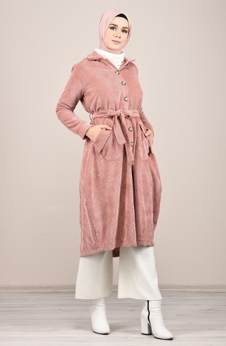 Hooded Corduroy Cape Rose Dried 1019-01