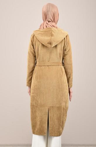Hooded Corduroy Cape Mustard 1019-02