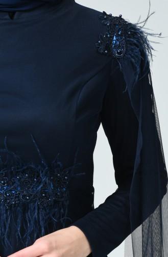 Tüylü Tül Abiye Elbise 5234-01 Lacivert