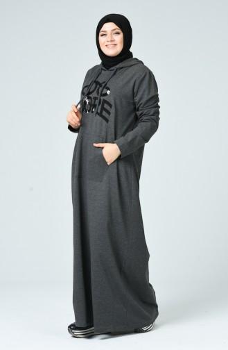 Robe Sport İmprimée Grande Taille 10007-01 Anthracite 10007-01