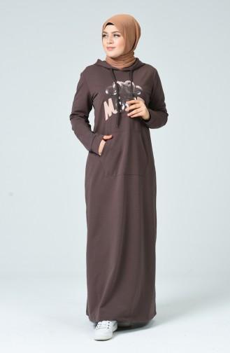 Büyük Beden Baskılı Spor Elbise 10007-02 Kahverengi