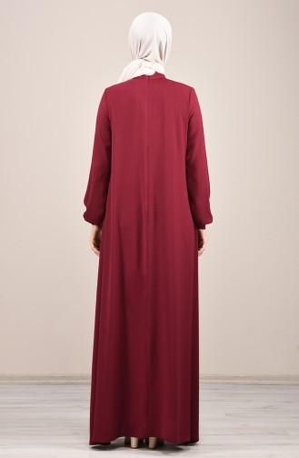 فستان كريب عنابي 8030-03