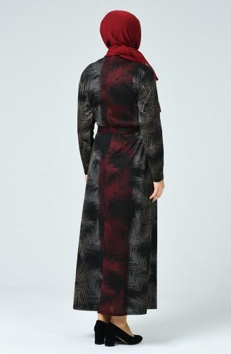 Claret Red Hijab Dress 4893B-01