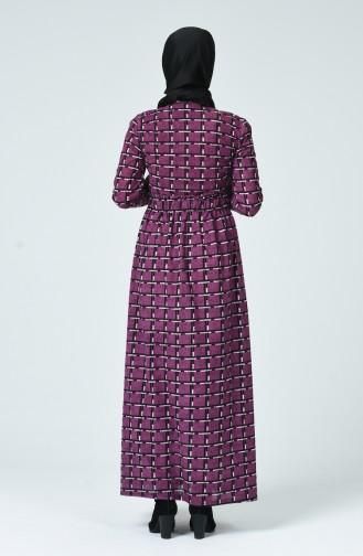 Desenli Kışlık Elbise 1265-01 Mor 1265-01