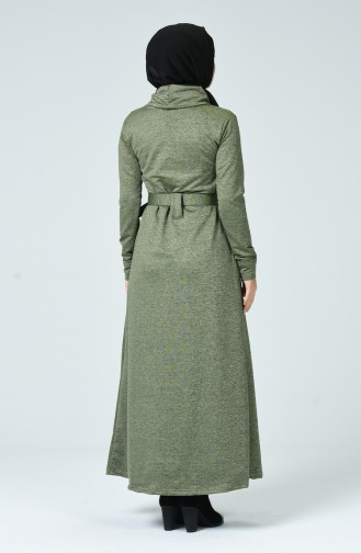 Turtleneck Belted Dress Khaki 0022-04