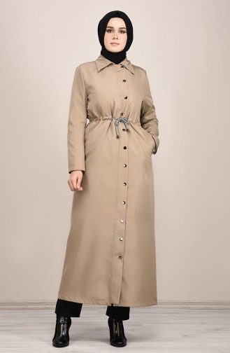 Trench Coat Long Taille Froncée 0033-04 Beige 0033-04