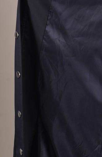 Trench Coat Long Taille Froncée 0033-05 Bleu Marine 0033-05
