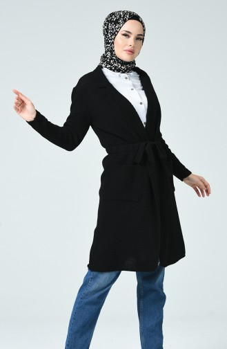 Belted Tricot Cardigan Black 4187-02