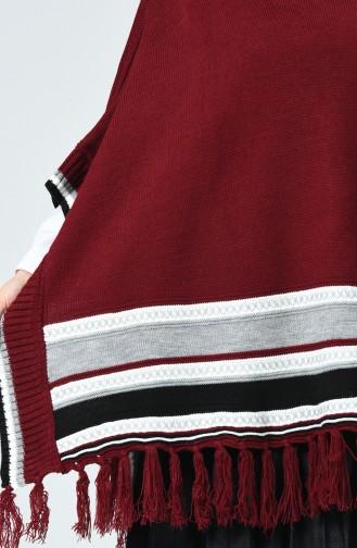 Poncho tricot a franges 0951-02 Cerise 0951-02