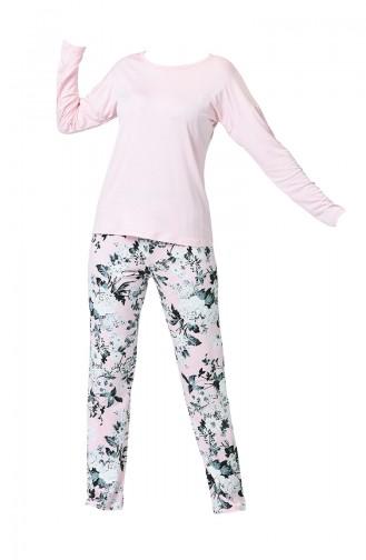 Ensemble Pyjama à Détail Manches Longues Pour Femme MBY1009-01 Rose 1009-01