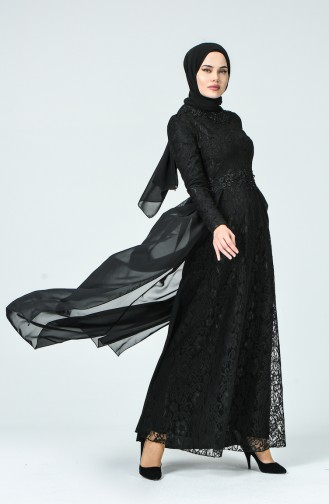 Dantel Kaplama Abiye Elbise 5213-01 Siyah