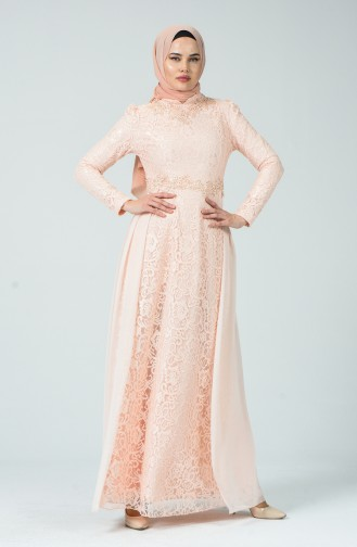 Lace Overlay Evening Dress Salmon 5213-02