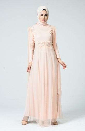 Feather Tulle Evening Dress Salmon 5234-04
