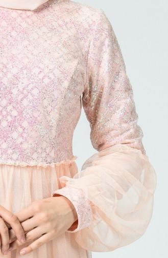 Robe de Soirée à Paillettes Manches Ballon 5239-04 Saumon 5239-04