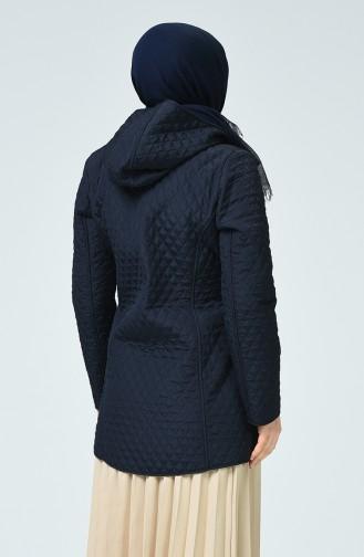 Manteau à Motifs 0823-02 Bleu Marine 0823-02