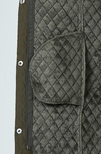 Manteau à Motifs 0823-03 Khaki 0823-03
