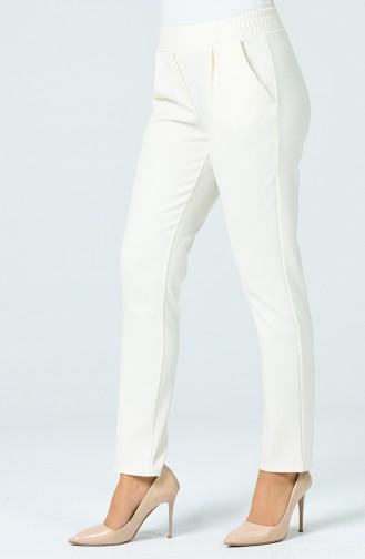 Pantalon Plisée Avec Poche 1162PNT-01 Crème 1162PNT-01