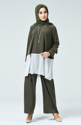 Ensemble Deux Pieces Tunique Pantalon Avec Collier 1003-02 Khaki 1003-02