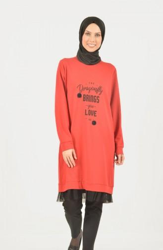 Eteği Tül Detaylı Spor Tunik 1411-01 Kırmızı 1411-01