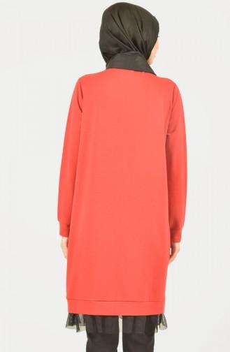 Skirt Tulle Detailed Sport Tunic Red 1411-01