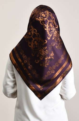 Patterned Rayon Scarf Dark Purple Brown tobacco 90643-03