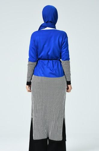 Long Gilet Tricot Avec Ceinture 3015-02 Bleu Roi 3015-02