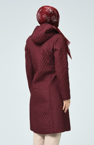 Manteau à Motifs Baklava Grande Taille 0816-03 Plum 0816-03