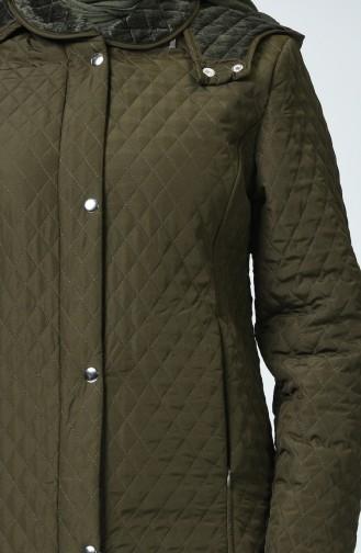 Manteau à Motifs Baklava Grande Taille 0816-04 Khaki 0816-04