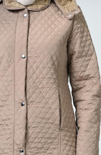 Manteau à Motifs Baklava Grande Taille 0816-05 Vison 0816-05