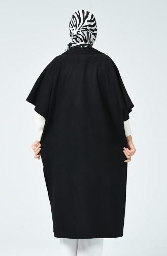 Half Sleeve Felt Poncho Black 5015-01