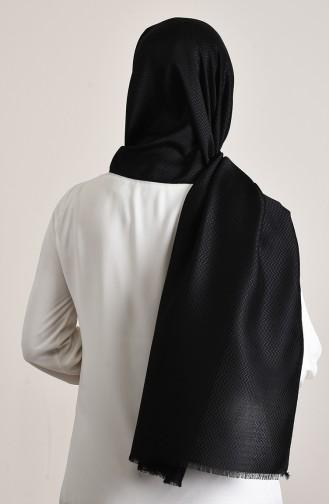 Zikzak Desenli Pamuksu Şal 13156-01 Siyah 13156-01
