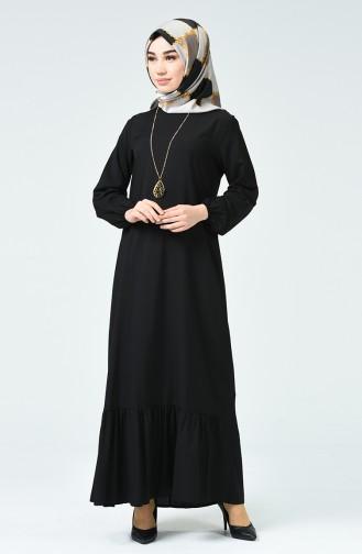 Büzgülü Elbise 1207-06 Siyah