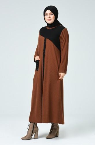Tobacco Brown İslamitische Jurk 1247-05