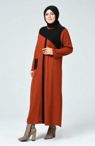 Ziegelrot Hijap Kleider 1247-06