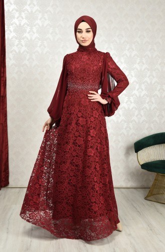 Lace Overlay Evening Dress Bordeaux 5235-03