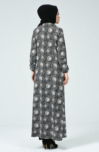 Abaya à Motifs Avec Femeture  4035-01 Noir 4035-01