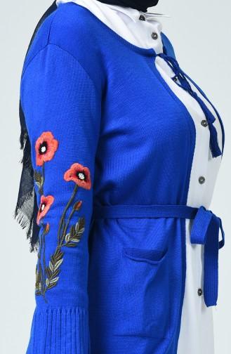Gilet Tricot à Manches Brodée 3010-05 Bleu Roi 3010-05