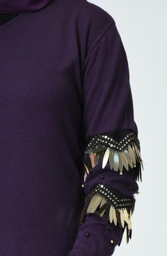 Trikot Pullover mit Perlen Arm 11218-03 Lila 11218-03