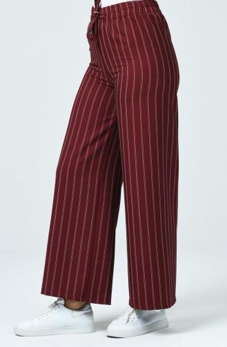Çizgili Bol Paça Pantolon 10200-04 Bordo