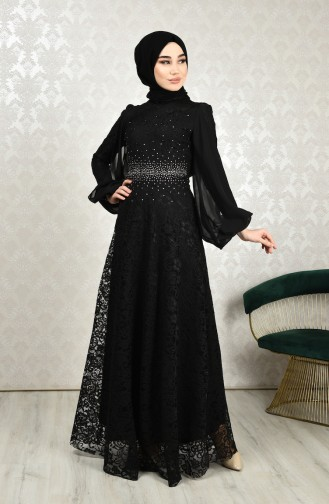 Dantel Kaplama Abiye Elbise 5235-04 Siyah