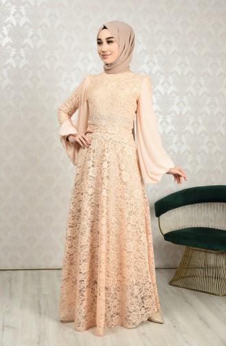 Lace Overlay Evening Dress Salmon 5235-01