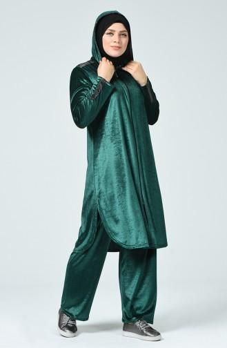 Ensemble Deux Pieces Tunique Pantalon Velours Grande Taille 2665-05 Vert émeraude 2665-05