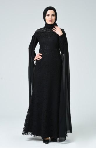 Lace Overlay Evening Dress Black 5231-04